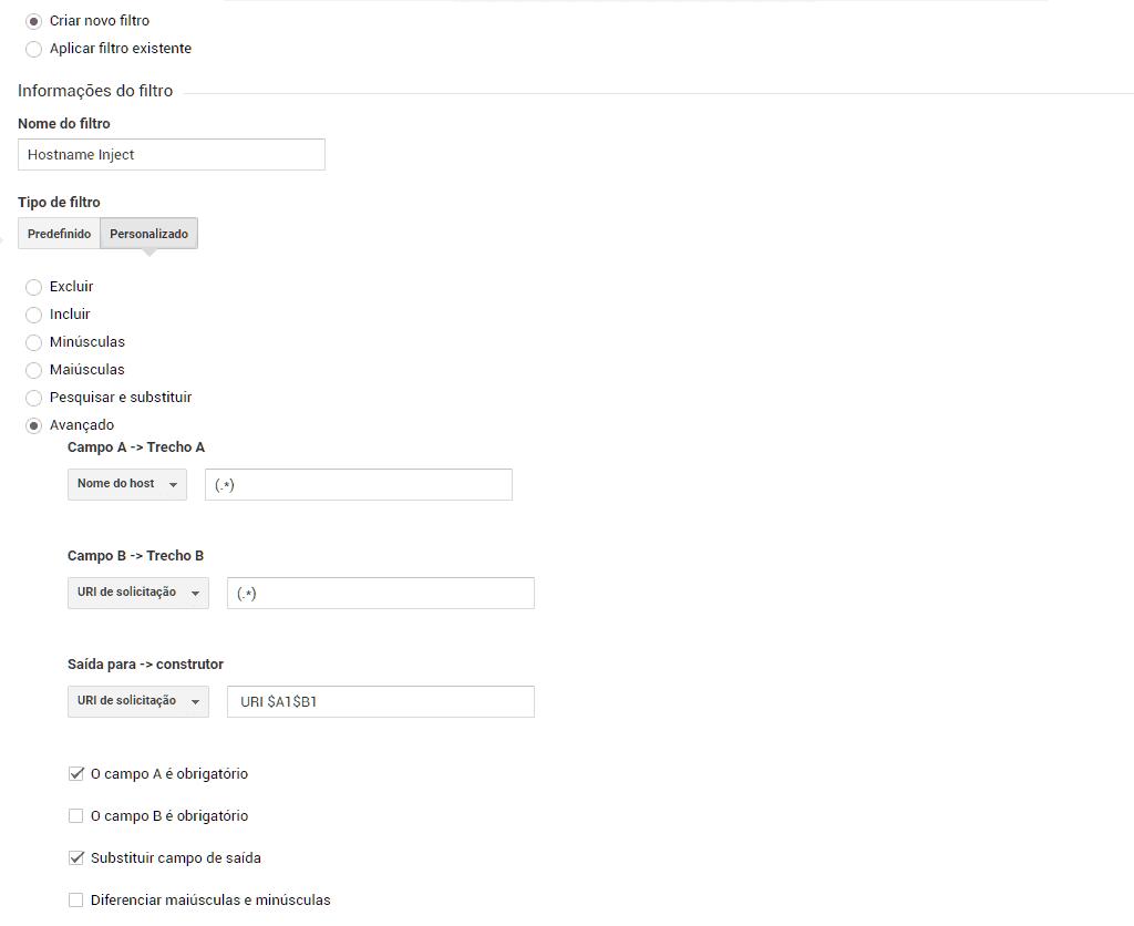Adicionando filtro para injetar o hostname