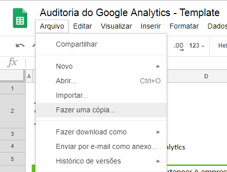 Copiando a planilha do Google Drive