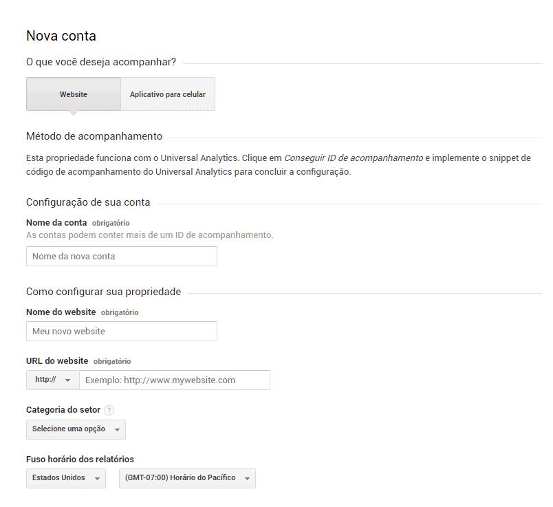 Cadastro no Google Analytics