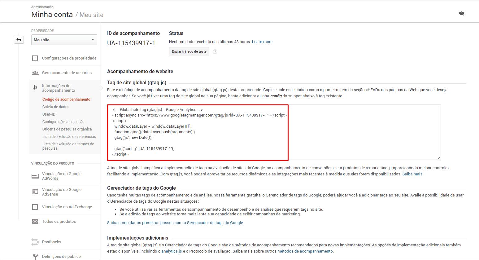 Código de acompanhamento do Google Analytics