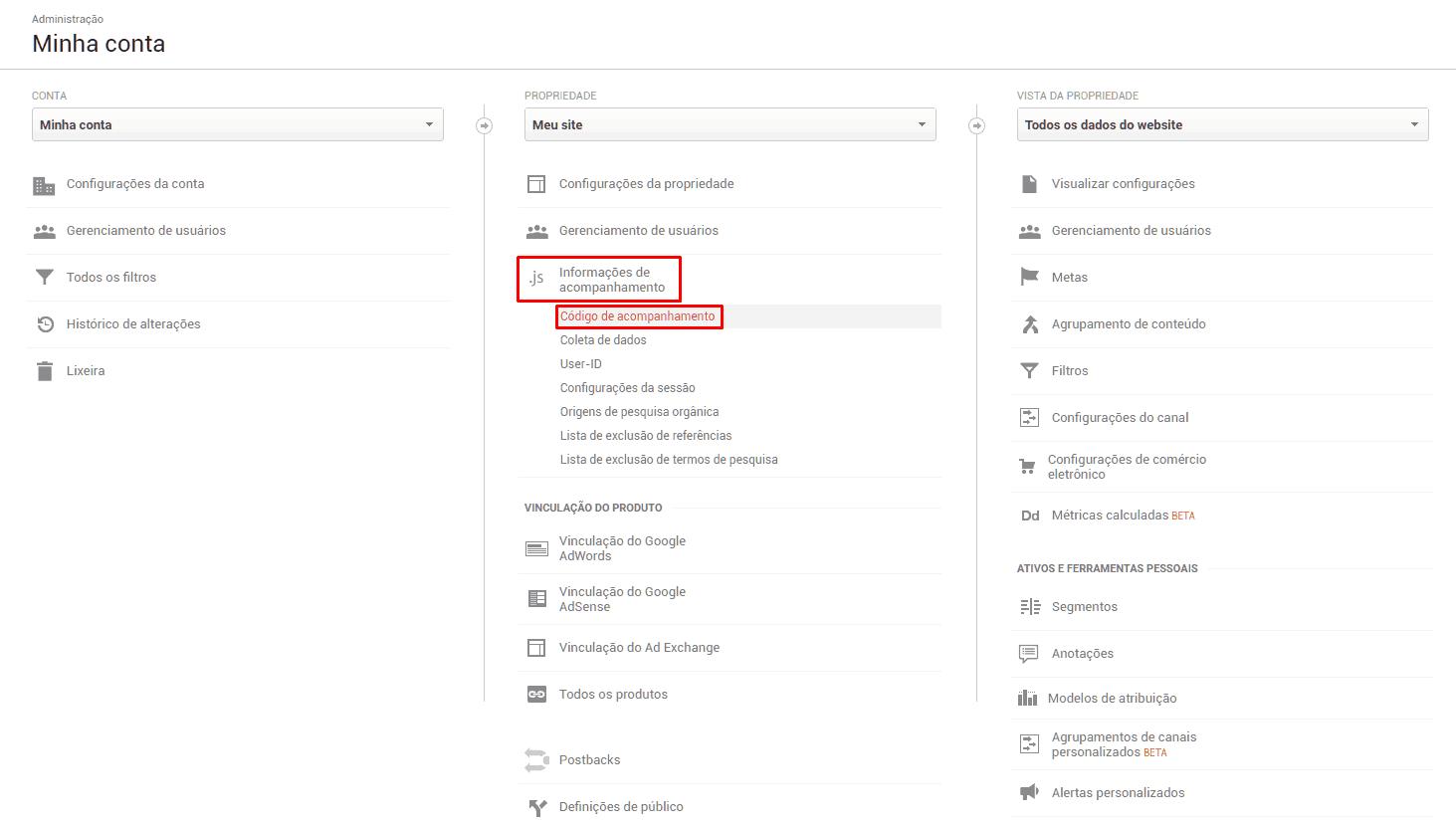 Seção do Administrador no Google Analytics