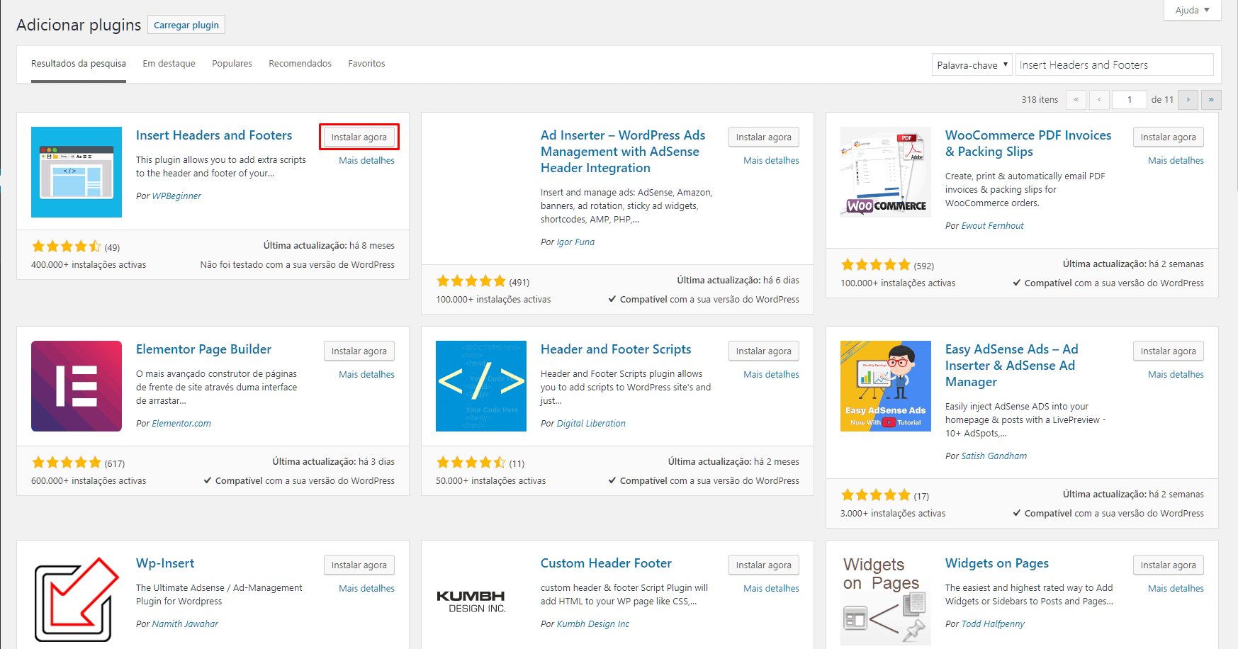 Resultado da busca de plugins no WordPress