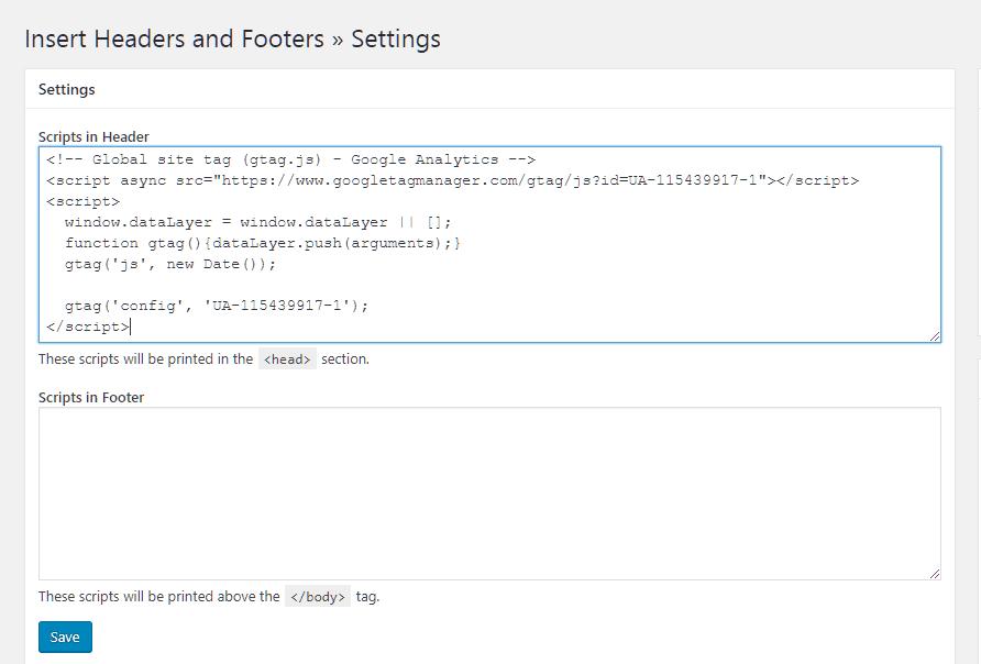 Inserindo o código do Google Analytics no Painel do Headers and Footers